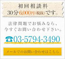 初回相談30分6,000円(税抜)です。